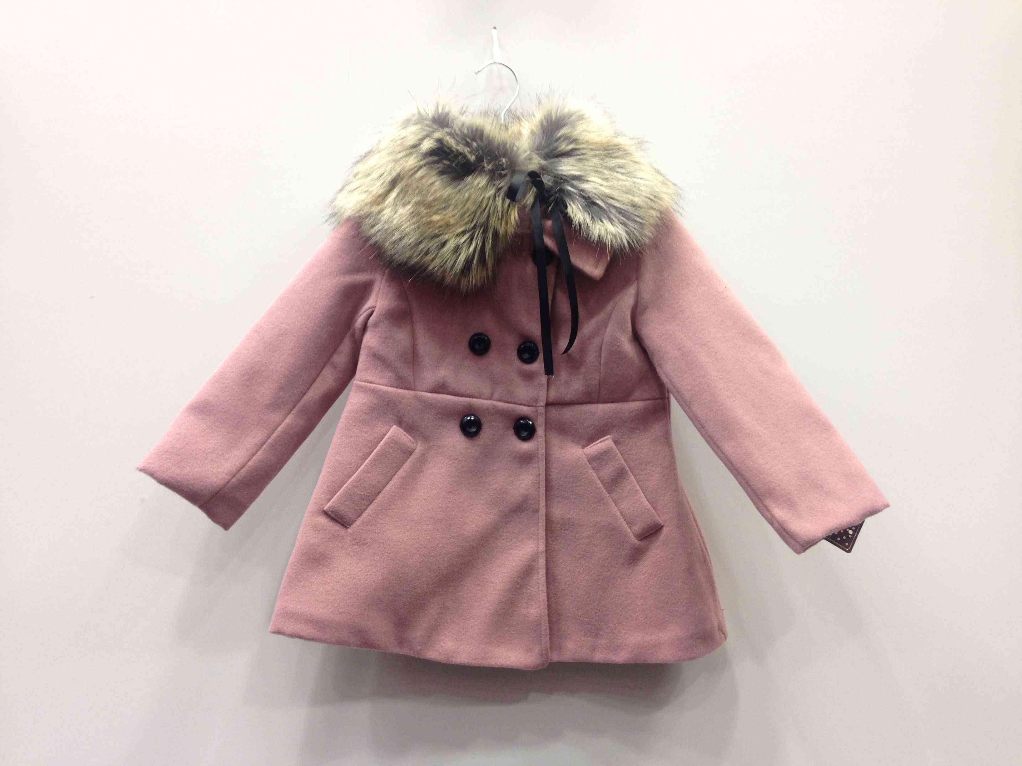 Παλτό με αποσπώμενο δετό γιακά γούνας  bab0e2f02a8