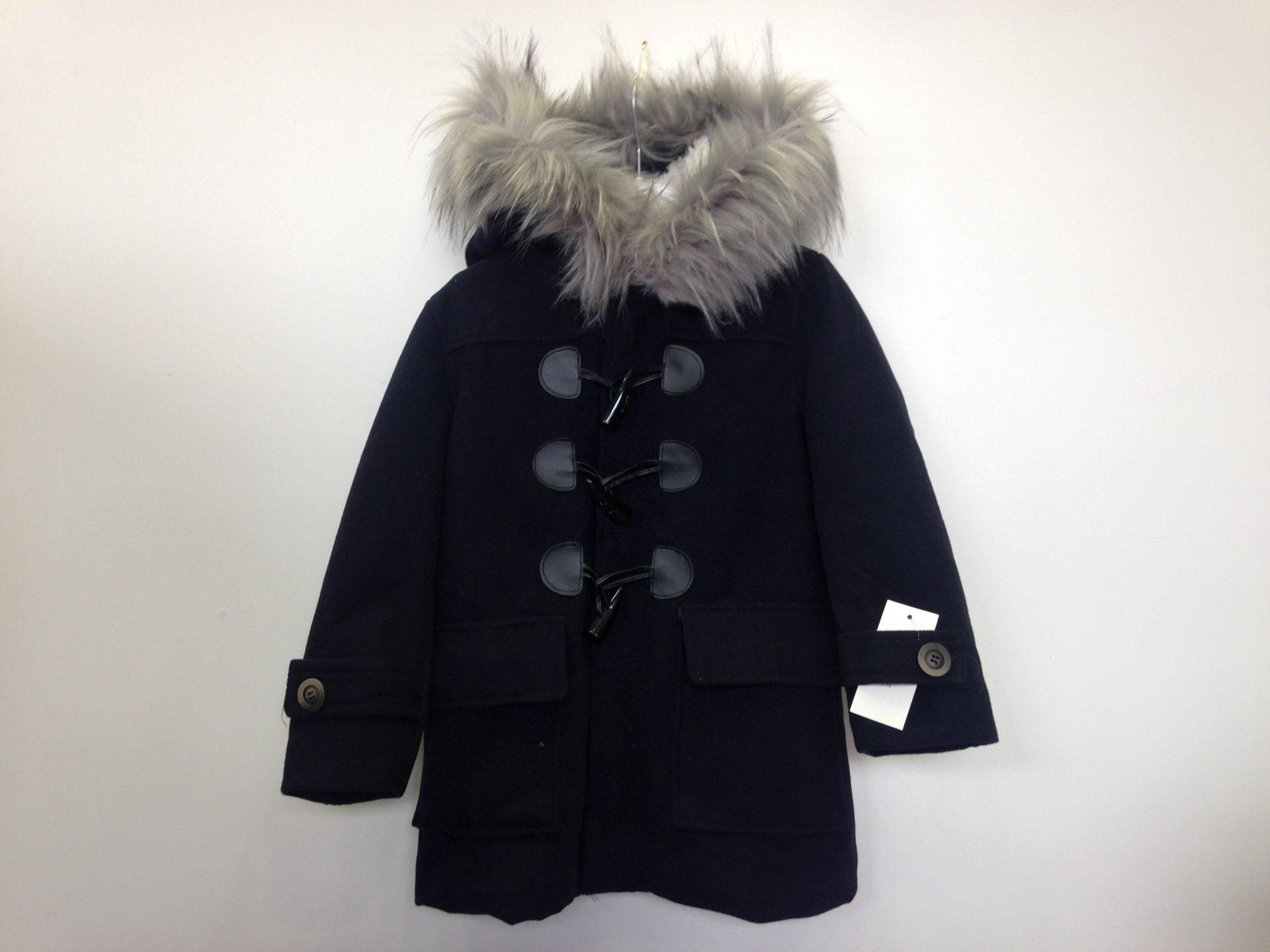042d812a037 Παλτό μπλε unisex με γούνα στη κουκούλα και εσ. επένδυση γούνας ...