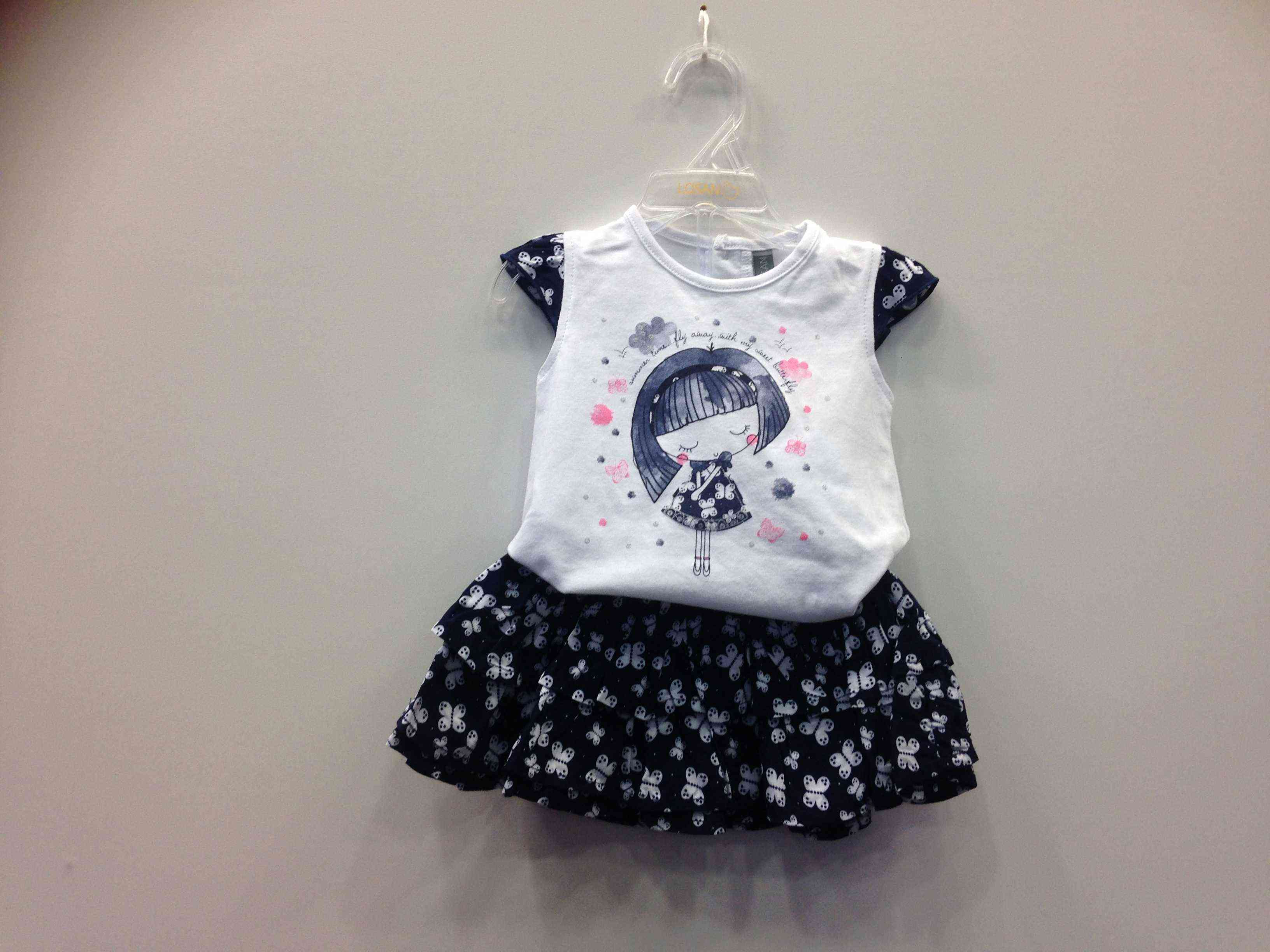 bf33144568b LOSAN Σετ μπλούζα/φούστα με πεταλούδες 100% viscose έξω,100% cotton μέσα
