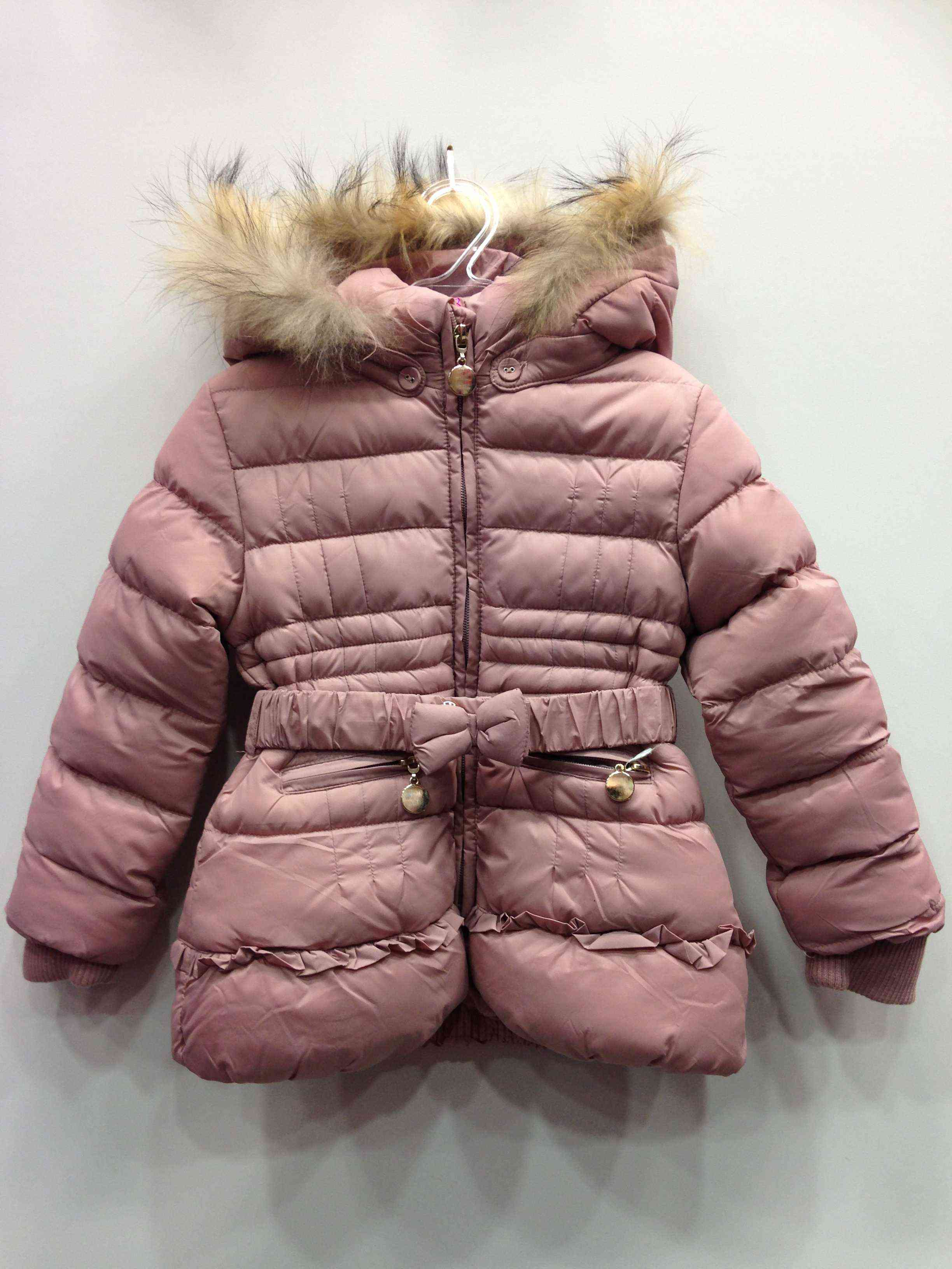 6b8e80afb5d Μπουφάν ροζ με γούνα στην κουκούλα και ζώνη φιόγκος | Kids Club