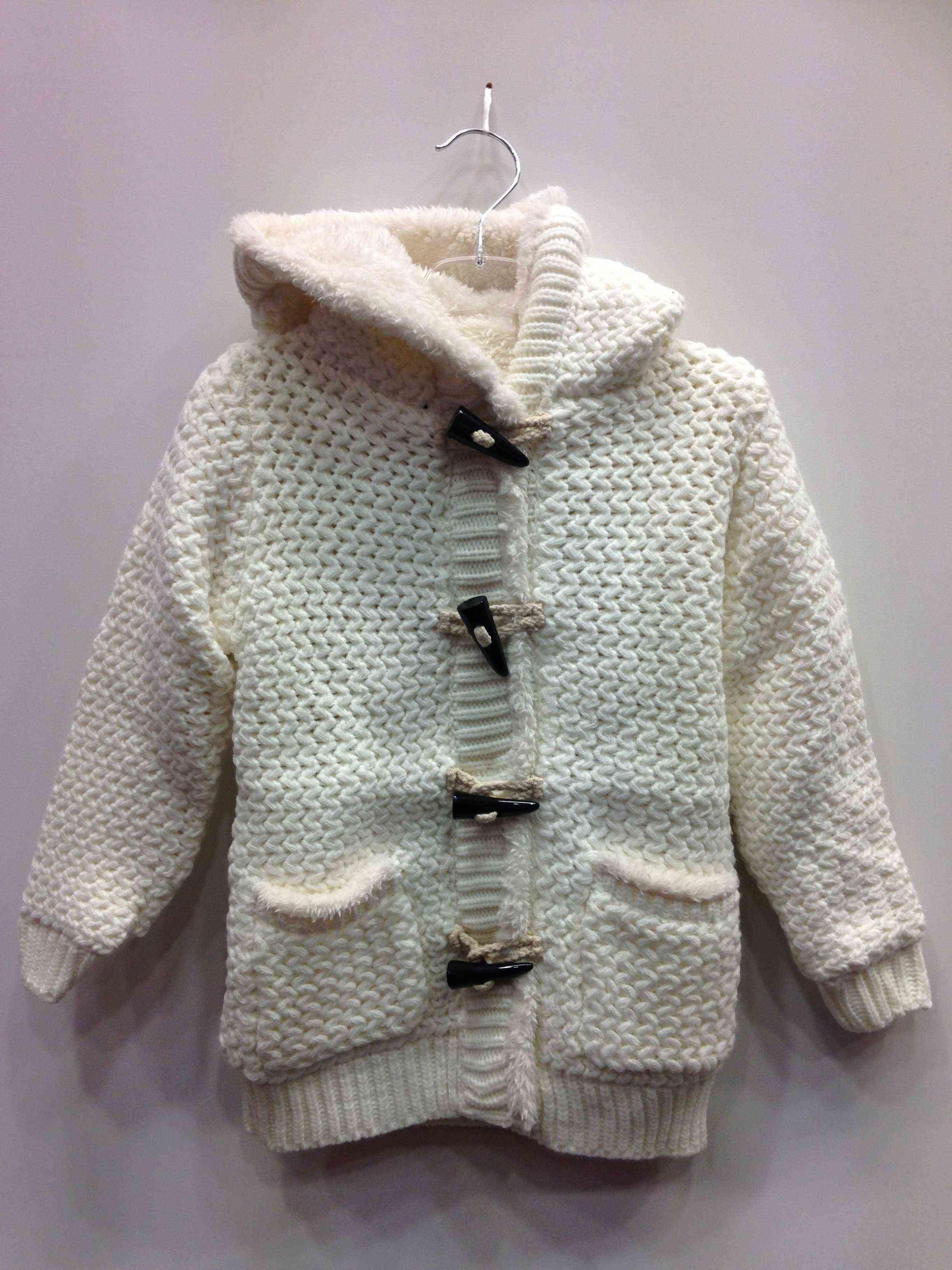 61730034ad8 Ζακέτα για κορίτσι εκρού με εσωτερική γούνα, πλεκτή | Kids Club